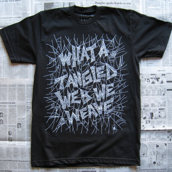 What a tangled web we weave – Random Objects Top 10 Typography T Shirts