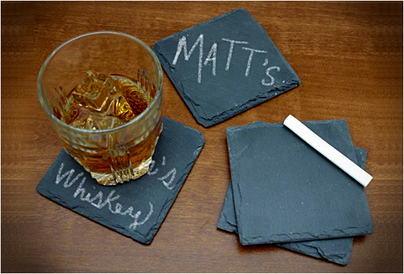 chalkboard slate coasters How To Add A Refined Touch To Your Bachelor Pad: Part 2